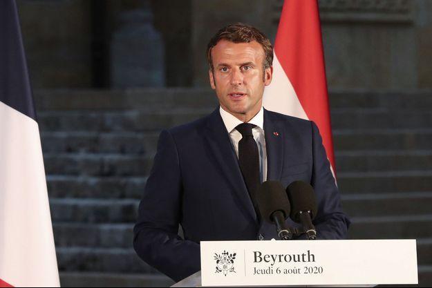 Emmanuel Macron lors d'une conférence de presse à Beyrouth le 6 août 2020