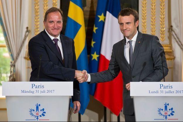 Le Premier ministre suédois social-démocrate Stefan Löfven a été reçu par Emmanuel Macron à l'Elysée le 31 juillet 2017.