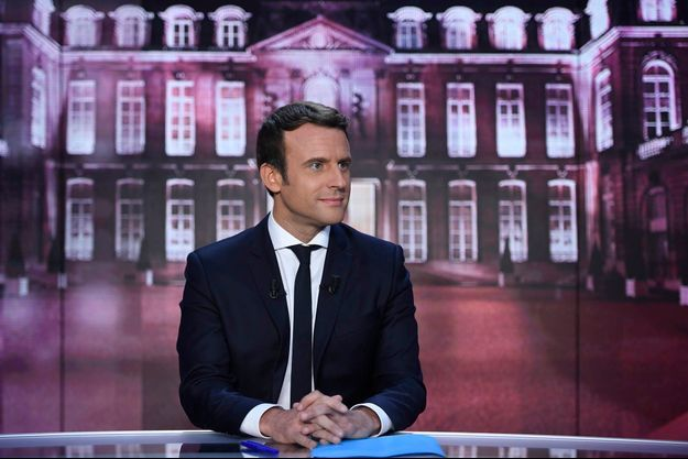 Emmanuel Macron sur le plateau de TF1 jeudi soir.
