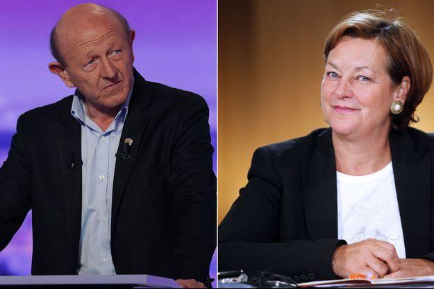 Jean-Luc Bennahmias, lors de la campagne présidentielle 2017 et Nathalie Griesbeck, ici lors d'une conférence de presse, le 29 septembre 2010 à Paris