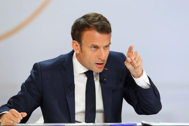 Emmanuel Macron à l'Elysée jeudi, lors de sa conférence de presse.