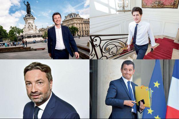 De gauche à droite, de haut en bas : Benjamin Griveaux, Julien Denormandie, Arnaud Leroy et Gérald Darmanin.