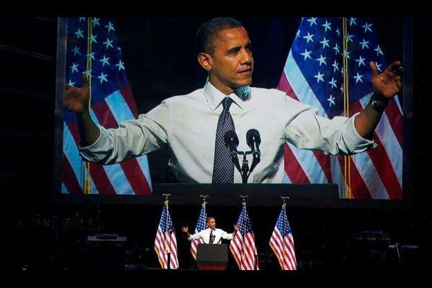 Obama au Nokia Theatre de Los Angeles.