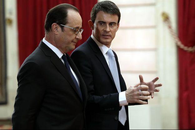 Manuel Valls et François Hollande à l'Elysée, le 5 février 2015.