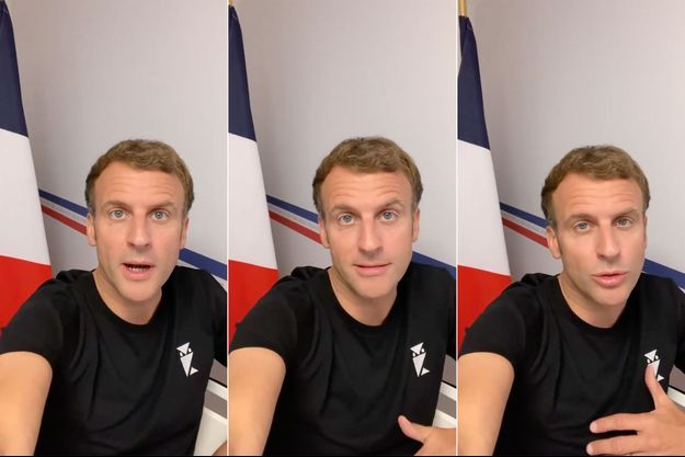 Captures d'écran du message diffusé par Emmanuel Macron sur les réseaux sociaux.