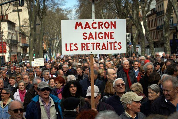 Manifestations de retraités mi -mars, ici à Toulouse.