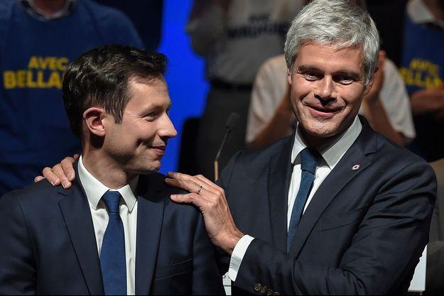 François-Xavier Bellamy et Laurent Wauquiez, vendredi à Strasbourg.