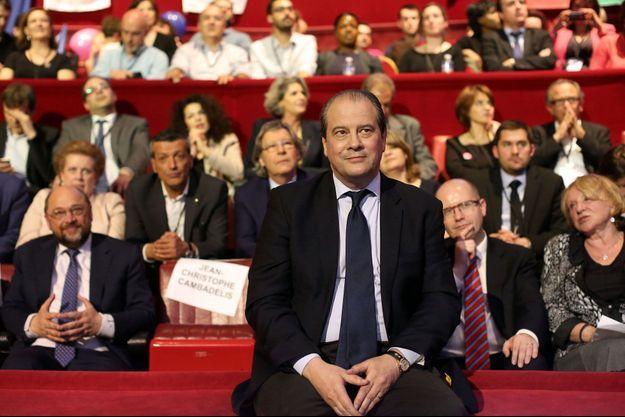 Jean-Christophe Cambadélis, premier secrétaire du Parti socialiste, lors du premier meeting de la campagne européenne, jeudi dernier à Paris.