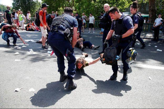 Vendredi, des membres du collectif Extinction Rebellion ont tenté de bloquer le pont de Sully, dans le 5e arrondissement de Paris. Ils ont été délogés par les CRS.