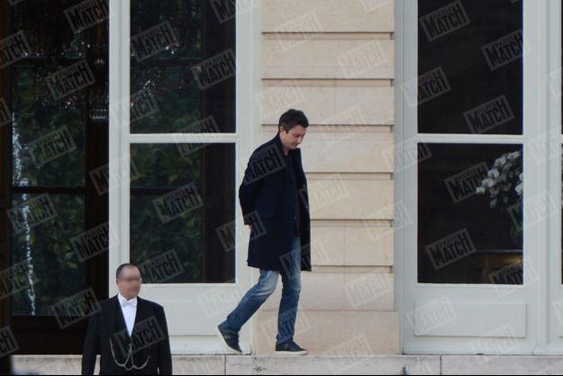 Benjamin Griveaux quitte l'hôtel de Lassay, à Paris, le 18 février 2020.