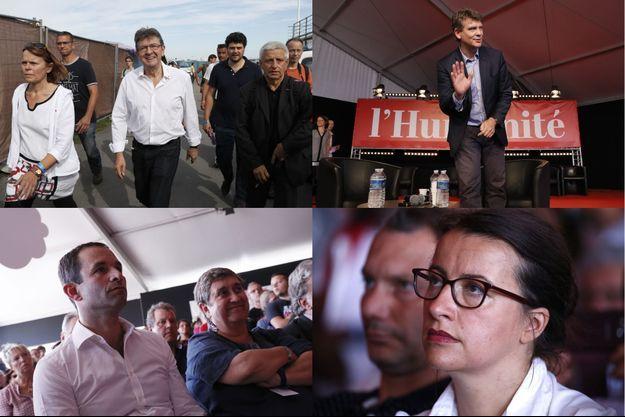 Jean-Luc Mélenchon, Arnaud Montebourg, Cécile Duflot et Benoît Hamon, samedi, à la Fête de L'Humanité.