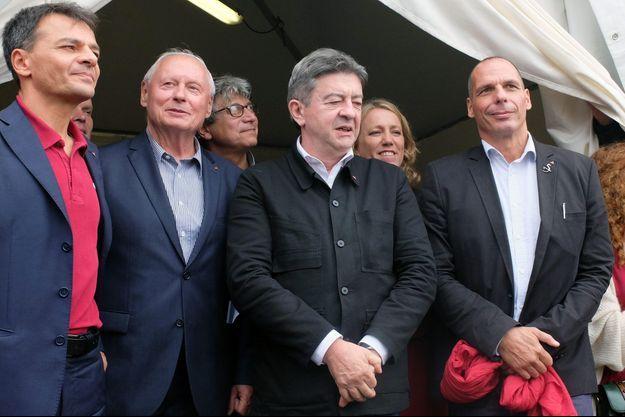 Stefano Fassina, Oskar Lafontaine, Jean-Luc Mélenchon et Yanis Varoufakis, samedi à la Fête de l'humanité.