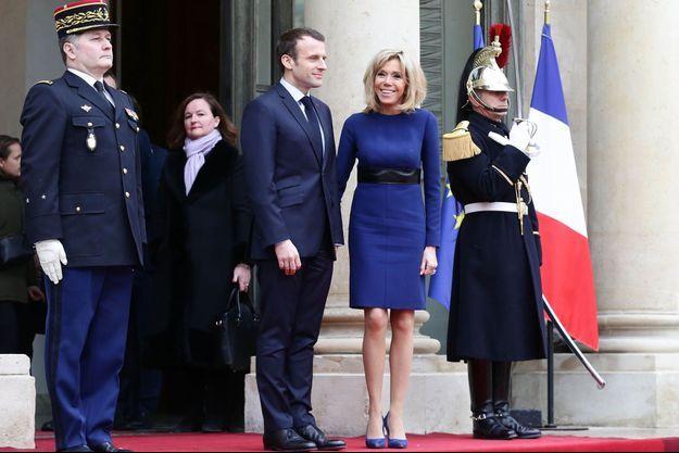 Emmanuel et Brigitte Macron ici à l'Elysée le 19 mars 2018.
