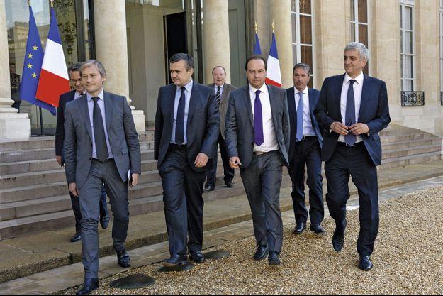 De g. à dr., Laurent Hénart, Yves Jégo, Jean-Christophe Lagarde, Philippe Vigier et Hervé Morin.