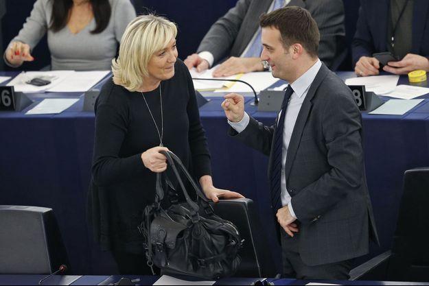 Marine Le Pen et Florian Philippot au Parlement européen.