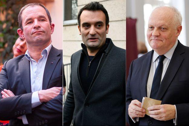 Benoît Hamon, Florian Philippot et François Asselineau.