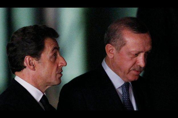 Nicolas Sarkozy et Recep Tayyip Erdogan en février à Ankara.