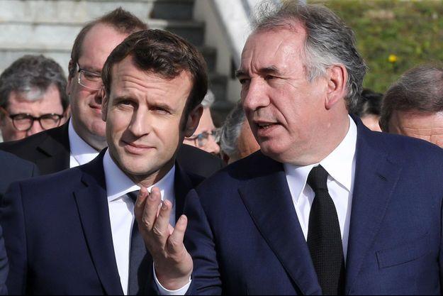 Emmanuel Macron et François Bayrou en janvier à Pau.