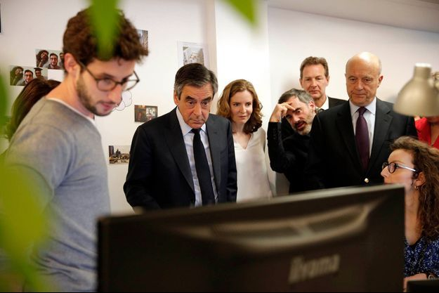 François Fillon, Alain Juppé et Nathalie Kosciusko-Morizet en visite dans les locaux de Deezer, le 19 avril 2017.