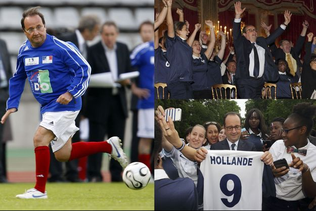 François Hollande le 20 mai 2008 lors d'un match caritatif au stade Charléty (à gauche), le 30 juin 2014 lors d'un match de l'équipe de France durant la Coupe du monde (à droite, en haut et en bas).