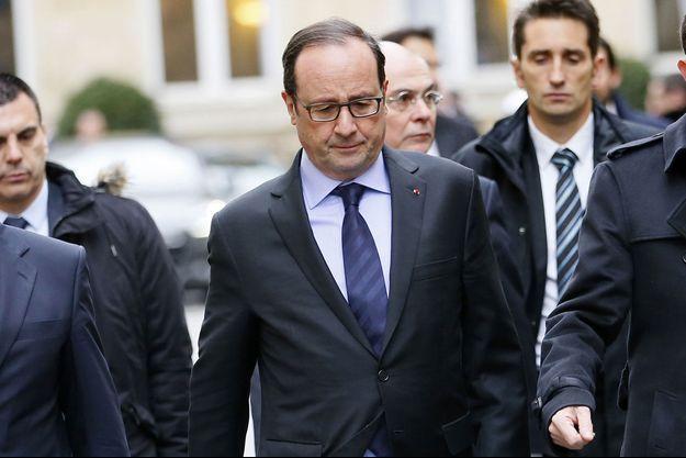 François Hollande quittant l'Elysée, le 9 janvier 2015.