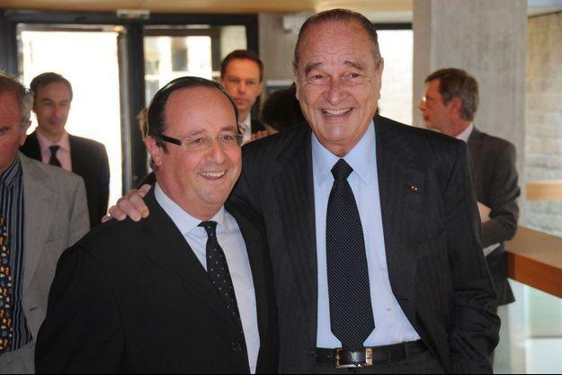 François Hollande et Jacques Chirac, le 19 mars 2010 à Sarran, en Corrèze.
