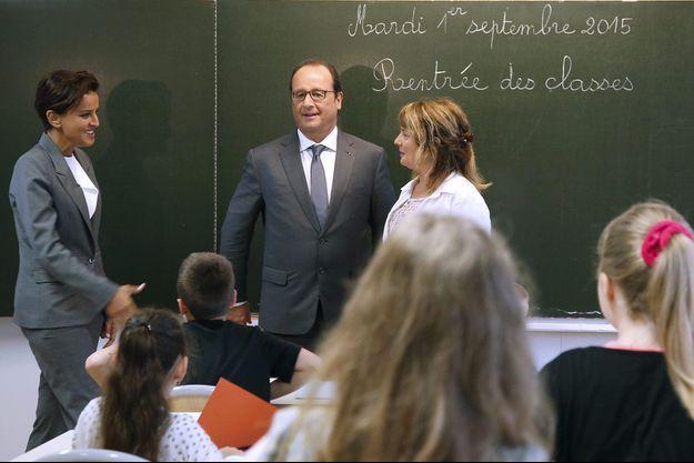 François Hollande et Najat Vallaud-Belkacem mardi dans une école primaire de Pouilly-sur-Serre, dans l'Aisne.