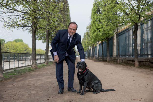 François Hollande avec Philae dans le jardin des Tuileries, en face de ses nouveaux bureaux situés rue de Rivoli, le 11 avril.