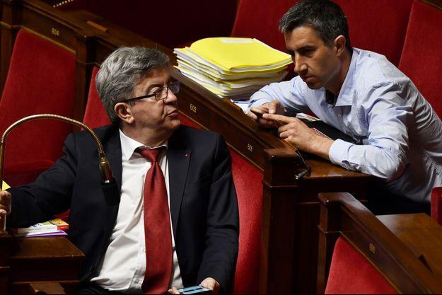 Jean-Luc Mélenchon et François Ruffin à l'Assemblée en mai 2018 à l'Assemblée.