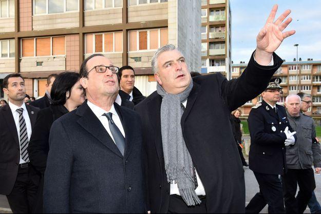 François Hollande et Frédéric Cuvillier le 16 décembre 2014.