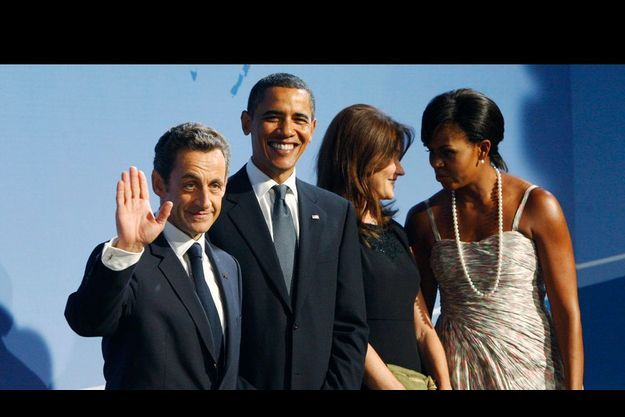Nicolas Sarkozy, Barack Obama, Carla et Michelle.