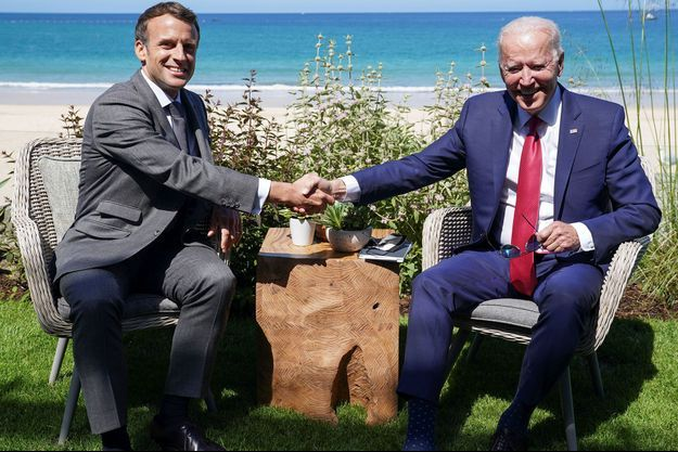 Emmanuel Macron et Joe Biden, le 12 juin 2021.