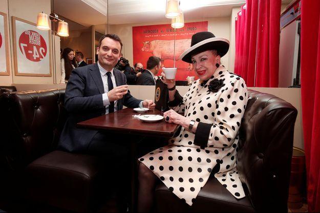 Florian Philippot et Geneviève de Fontenay lundi en conférence de presse.