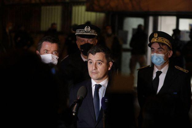 Le ministre de l'Intérieur Gérald Darmanin à Poissy lundi soir.