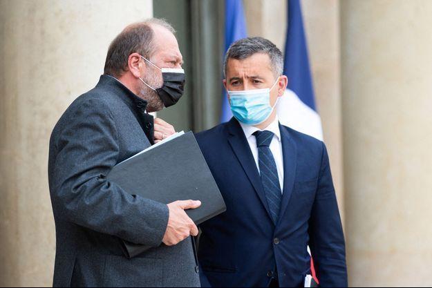 Le garde des Sceaux Eric Dupond-Moretti et le ministre de l'Intérieur Gérald Darmanin ici à l'Eysée fin avril.
