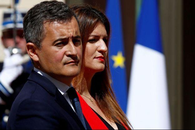 Gérald Darmanin et Marlène Schiappa, le 7 juillet au ministère de l'Intérieur.