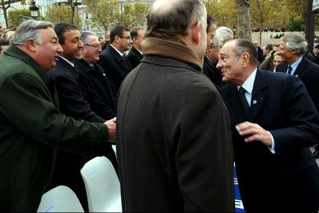 Gérard Larcher (à gauche) et Jacques Chirac le 11 novembre 2005.