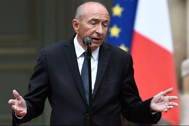 Gérard Collomb lors de sa passation de pouvoir au ministère de l'Intérieur