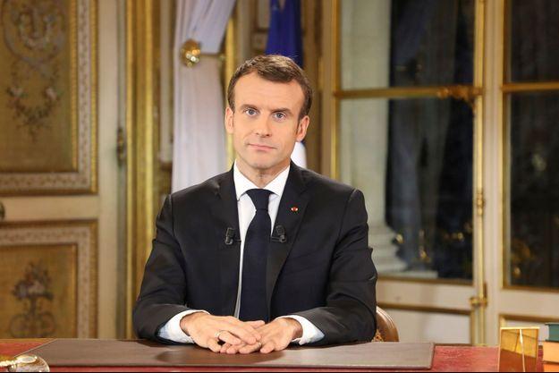 Emmanuel Macron lors de son allocution télévision du 10 décembre 2018.