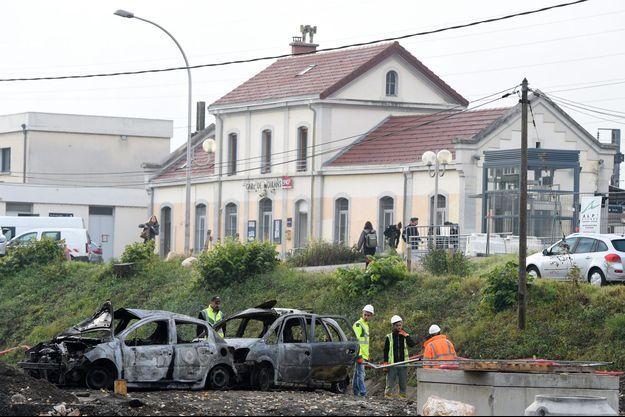 La gare de Moirans, dans l'Isère, le 21 octobre, après les émeutes.