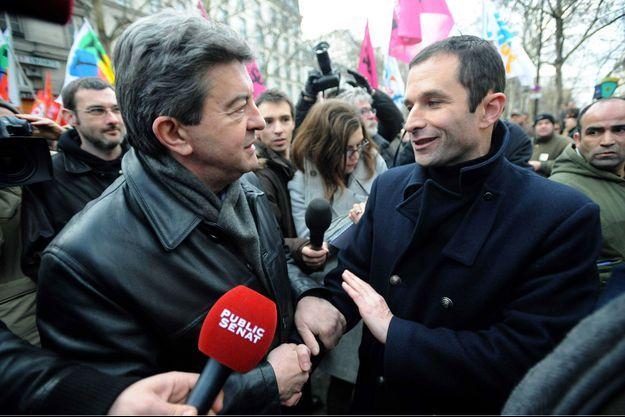 Jean-Luc Mélenchon et Benoît Hamon