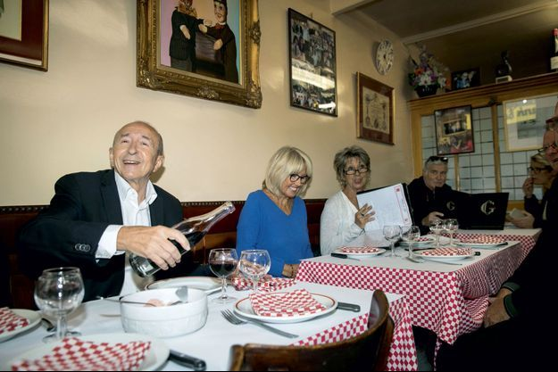 Gérard Collomb au bouchon lyonnais Chez Hugon, le 8 octobre.