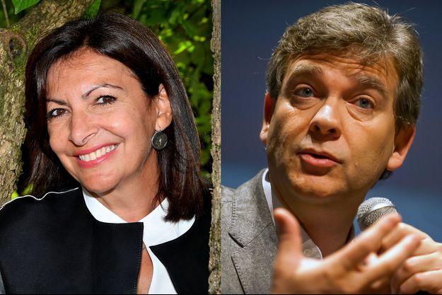 Anne Hidalgo en août 2020, et Arnaud Montebourg en novembre 2016.