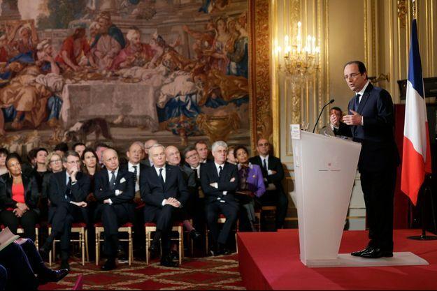 François Hollande devant les journalistes, mardi.