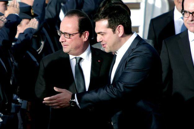 Alexis Tsipras accueille François Hollande à Athènes, jeudi.