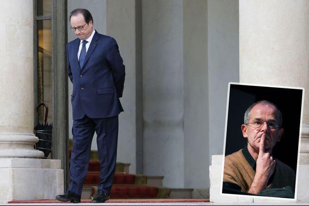 François Hollande à l'Elysée le 2 mars. En médaillon, le journaliste François Bazin.