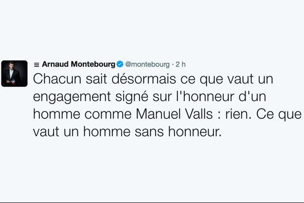 Le tweet incendiaire d'Arnaud Montebourg après le vote annoncé de Manuel Valls pour Emmanuel Macron au premier tour.