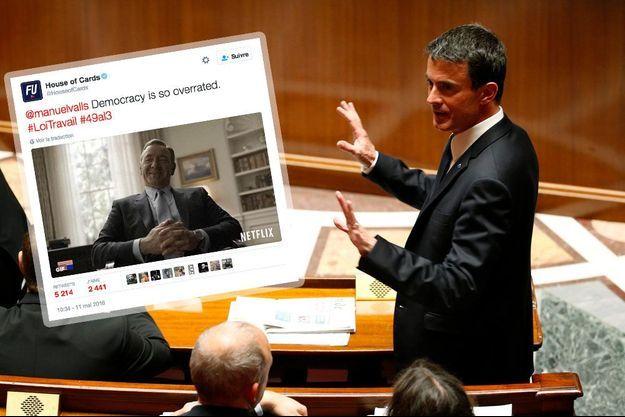 """Le tweet de """"House of Cards"""" et Manuel Valls à l'Assemblée nationale."""