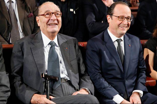 François Hollande et Jacques Chirac au Quai Branly en novembre 2014, dernière apparition publique de l'ex-chef de l'Etat.