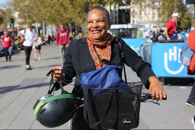 Christiane Taubira place de la République à Paris, en septembre 2018.